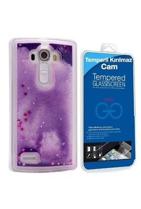 Teleplus Lg G4 Sulu Kapak Kılıf Mor + Cam Ekran Koruyucu