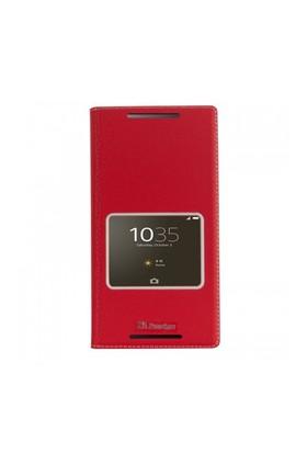Lopard Sony Xperia C5 Ultra Pencereli Kırmızı Dolce Kapaklı Deri Akıllı Kılıf
