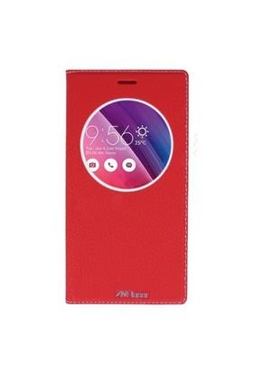 Lopard Asus Zenfone Go Zc500tg Pencereli Kırmızı Dolce Kapaklı Deri Akıllı Kılıf