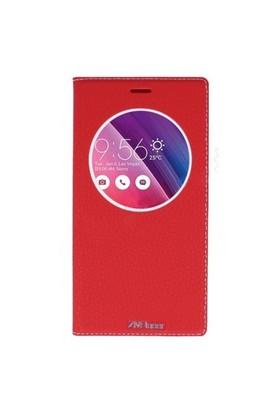 Lopard Asus Zenfone 2 Laser Ze601kl Pencereli Kırmızı Dolce Kapaklı Deri Akıllı Kılıf