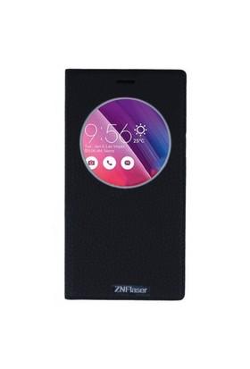Lopard Asus Zenfone 2 Pencereli Siyah Dolce Kapaklı Deri Akıllı Kılıf