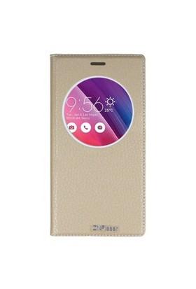 Lopard Asus Zenfone 5 Pencereli Altın/Gold Dolce Kapaklı Deri Akıllı Kılıf