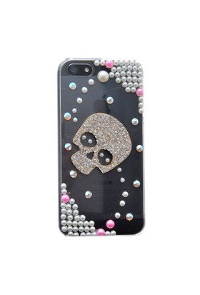 Resonare Apple iPhone 5 - 3D Skull - Boncuk Desenli - Şeffaf Kapak