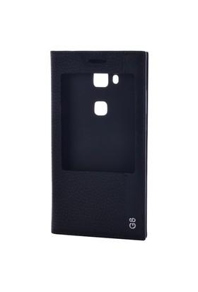 Gpack Huawei G8 Kılıf Kapaklı Pencereli Magnum - Siyah
