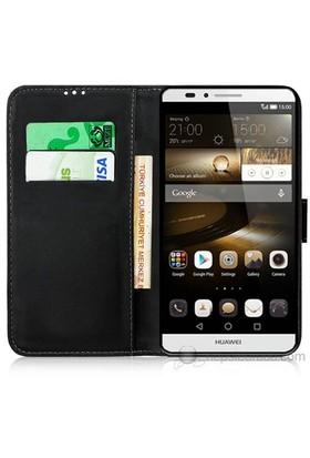 Teknomeg Huawei Mate 7 Siyah Cüzdan Kılıf Siyah