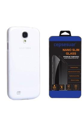 Cepsesuar Samsung Galaxy S4 Kılıf Silikon Şeffaf + Cam
