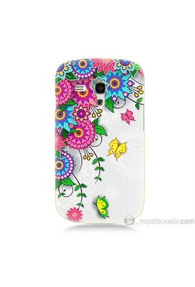 Teknomeg Samsung Galaxy S3 Mini Kapak Kılıf Çiçek Ve Kelebek Baskılı Silikon