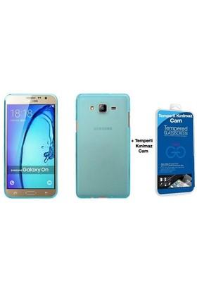 Teleplus Samsung Galaxy On7 Tam Korumalı Silikon Kılıf Mavi + Cam Ekran Koruyucu