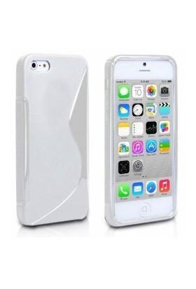 CoverZone İphone 5C Kılıf Silikon S-Line Beyaz