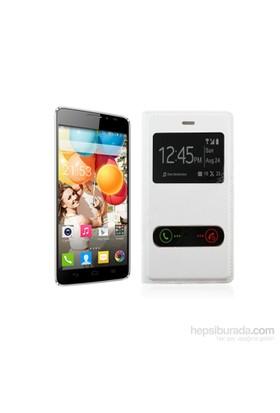 Case 4U General Mobile Discovery 2 Beyaz Kapaklı Kılıf