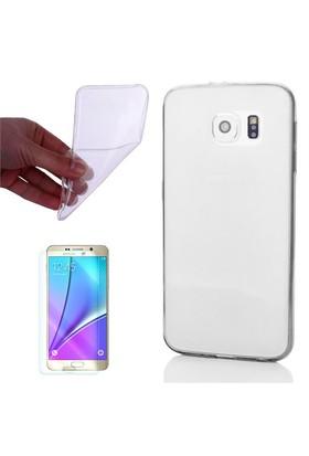 Cep Market Samsung Galaxy Note 5 Kılıf 0.2Mm Şeffaf Silikon + Cam