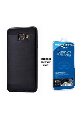 Teleplus Galaxy A5 2016 Çift Katmanlı Kapak Kılıf Siyah + Cam Ekran Koruyucu