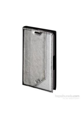 Inovaxis Sony E 4G Deri Cüzdan Kılıf Kapak Gümüş