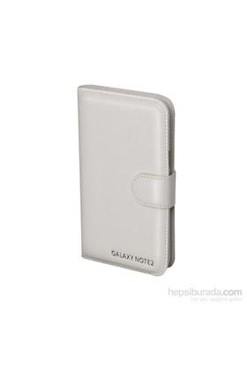 Inovaxis Samsung N7100 Note2 Deri Cüzdan Kılıf Beyaz
