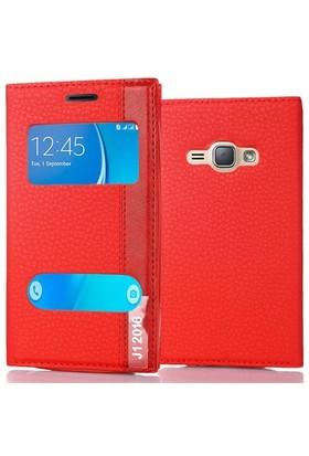 Coverzone Samsung Galaxy J1 2016 Kılıf Çift Pencereli Deri + Kırmızı