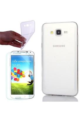 Gpack Samsung Galaxy Core 2 G355 Kılıf 0.2Mm Şeffaf Silikon + Cam