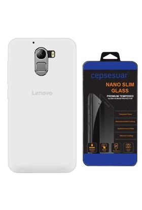 Cepsesuar Lenovo Vibe K4 Note A7010 Kılıf Silikon Şeffaf + Cam