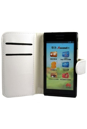 Microsonic Cüzdanlı Deri Kılıf - Huawei Ascent P1 Beyaz