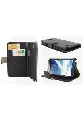 Microsonic Cüzdanlı Standlı Deri Kılıf - Samsung Galaxy Note2 N7100 Siyah