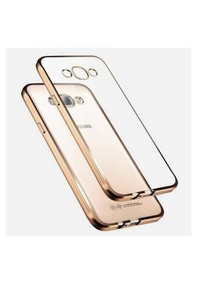 Ebox Samsung Galaxy J7 Kenarları Altın Varaklı Şeffaf İnce Silikon Arka Kapak - EBX-2700