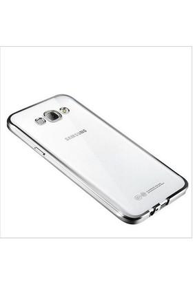 Ebox Samsung Galaxy J7 Kenarları Gümüş Varaklı Şeffaf İnce Silikon Arka Kapak - EBX-2717