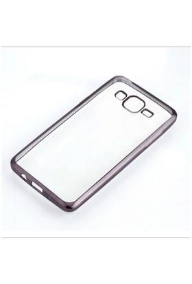 Ebox Samsung Galaxy J5 Kenarları Gümüş Varaklı Şeffaf İnce Silikon Arka Kapak - EBX-2724