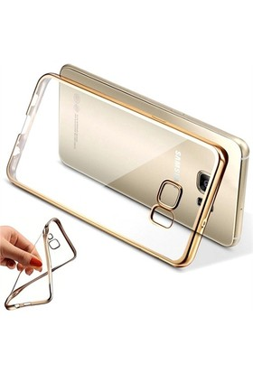 Coverzone Samsung Galaxy A9 Kılıf Silikon Kenar Kaplama Gold