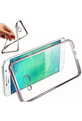 Coverzone Samsung Galaxy A9 Kılıf Silikon Kenar Kaplama Gümüş