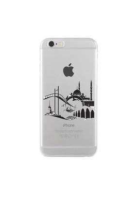 Remeto iPhone 6/6S Şeffaf Transparan Silikon Resimli İstanbul Silüet