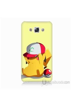 Teknomeg Samsung Galaxy E7 Kapak Kılıf Pokemon Pikachu Baskılı Silikon