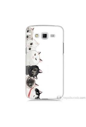 Teknomeg Samsung Galaxy Grand 2 Kapak Kılıf Kediler Baskılı Silikon