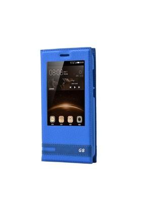 Teleplus Huawei G8 Lüx Pencereli Kılıf Mavi