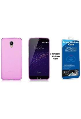 Teleplus Meizu M2 Note Silikon Kılıf Pembe + Temperli Cam Ekran Koruyucu