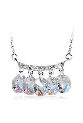Betico Fashion Gümüş 5Li Kristal Kolye