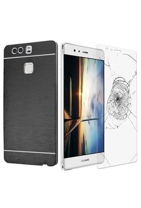 Kılıfshop Huawei P9 Metal Kılıf (Siyah) + Ekran Koruyucu