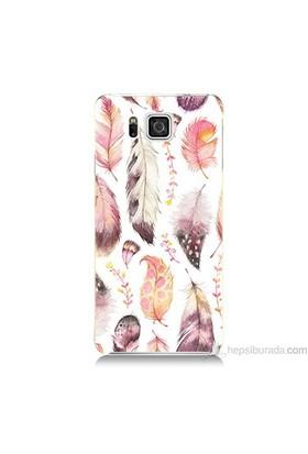 Teknomeg Samsung Galaxy Alpha Kapak Kılıf Renkli Tüyler Baskılı Silikon
