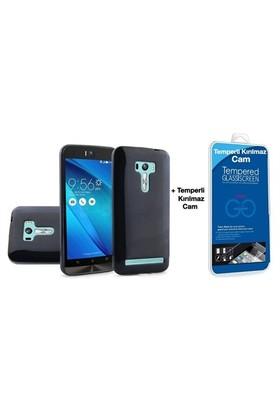 Teleplus Asus Zenfone Selfie Zd551kl Silikon Kılıf Siyah + Cam Ekran Koruyucu