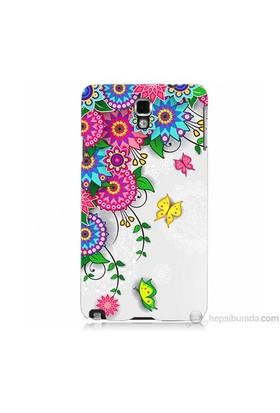 Teknomeg Samsung Galaxy Note 3 Neo Kapak Kılıf Çiçek Ve Kelebek Baskılı Silikon