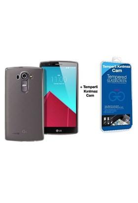 Teleplus Lg G4c Silikon Kılıf Siyah + Cam Ekran Koruyucu