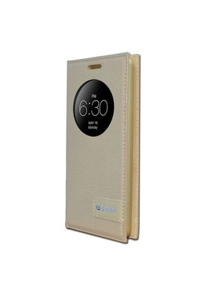 Teleplus Lg G3 Beat Pencereli Uyku Modlu Kılıf Sarı