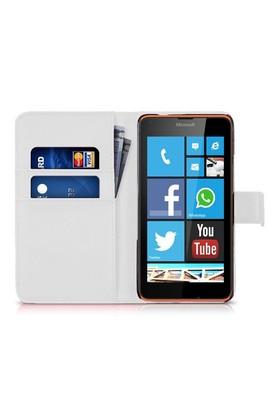 Microsonic Microsoft Lumia 640 Kılıf Cüzdanlı Deri Beyaz