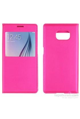 Case 4U Samsung Galaxy S6 Pencereli Flip Cover Kılıf Pembe