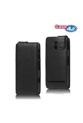Case 4U Sony Xperia P Kapaklı Kılıf Siyah
