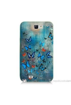Teknomeg Samsung Galaxy Note 2 Kapak Kılıf Kelebekler Baskılı Silikon