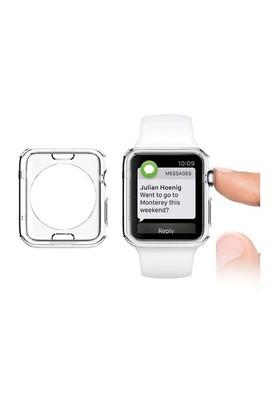 Lopard Apple Watch Kılıf 38 Mm Clear Transparent 0.2Mm Şeffaf Kapak + Temperli Cam Ekran Koruyucu