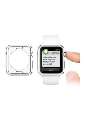 Lopard Apple Watch Kılıf 42 Mm Clear Transparent 0.2Mm Şeffaf Kapak + Temperli Cam Ekran Koruyucu