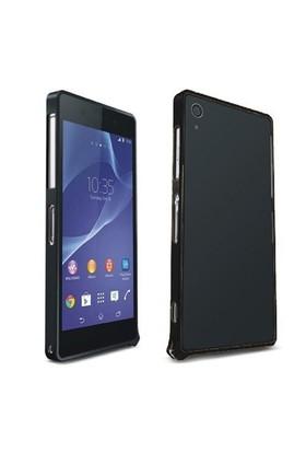 Teleplus Sony Xperia Z2 Metal Çerçeveli Kılıf Siyah Renk
