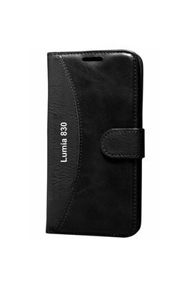 Gpack Nokia Lumia 830 Kılıf Standlı Cüzdan (Siyah)
