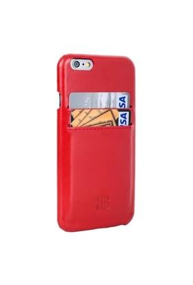 Burkley Apple iPhone 6 / 6 S Snap On Fiesta Red Kartlıklı Gerçek Deri Rubber Kılıf