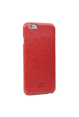 Burkley Apple İphone 6 Plus / 6S Plus Snap On Gerçek Deri Creased Red Rubber Kılıf